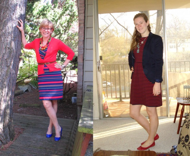 outfit post striped dresses