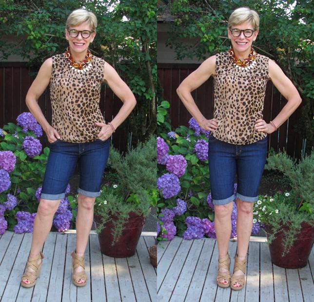 Jeanne denim shorts collage 2
