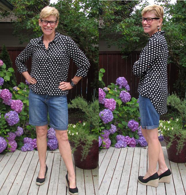 Jeanne denim shorts collage
