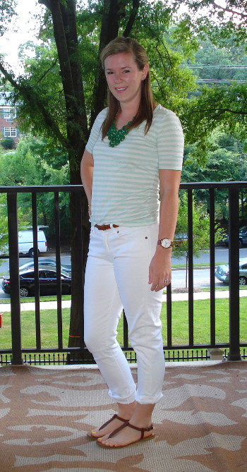 Kate white jeans and stripes