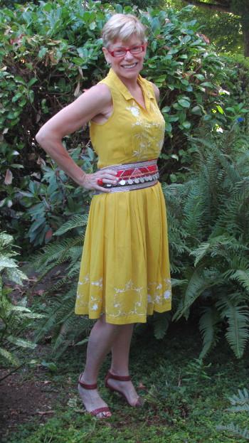 Jeanne reworking yellow dress