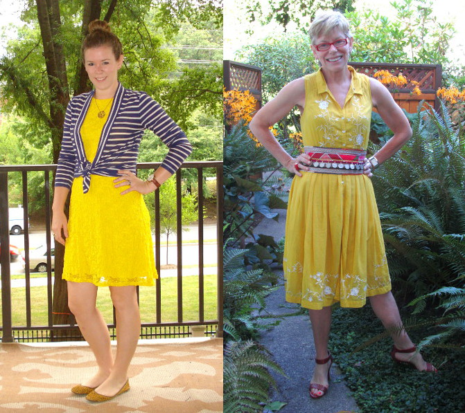 outfit post reworking yellow dresses